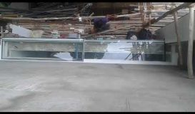 Motorized sliding  roof skylight with laminated glass
